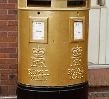 Olympic Gold Royal Mail Post Box by AnnDixon