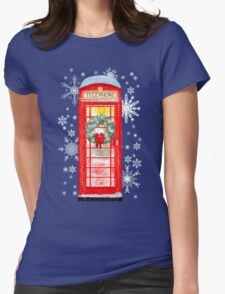British Red Telephone Box In Falling Christmas Snow Womens Fitted T-Shirt