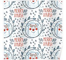 Christmas pattern with polar bears and wreaths.  Hand Drawn. Poster