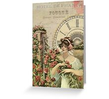 Vintage Art Deco Lady Floral Design Greeting Card