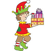 Elf with Presents Photographic Print