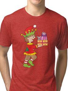 Elf with Presents Tri-blend T-Shirt