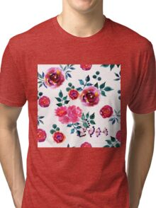 Beautiful hand-drawn flowers. Watercolor floral seamless pattern Tri-blend T-Shirt