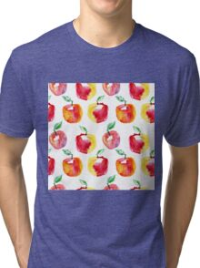 Watercolor seamless pattern with red apples. Hand drawn design. Summer fruit illustration. Tri-blend T-Shirt