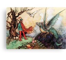 Fantasy Scene with Dragon and Adventurer Canvas Print