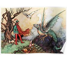 Fantasy Scene with Dragon and Adventurer Poster
