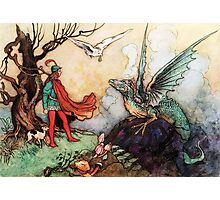 Fantasy Scene with Dragon and Adventurer Photographic Print