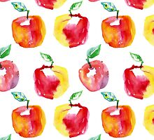 Watercolor seamless pattern with red apples. Hand drawn design. Summer fruit illustration. by Olga Matskevich