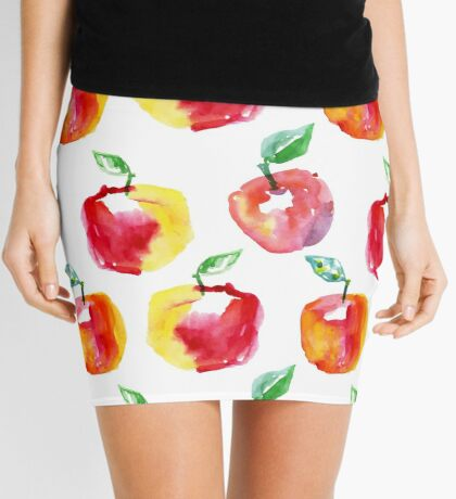 Watercolor seamless pattern with red apples. Hand drawn design. Summer fruit illustration. Mini Skirt