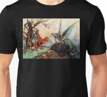 Fantasy Scene with Dragon and Adventurer Unisex T-Shirt