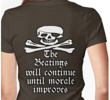 PIRATE, Pirate Morale, Sea men, Jolly Roger, Skull & Crossbones, Buccaneers, Me Hearties! white Womens Fitted T-Shirt