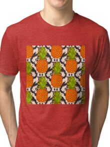 Tropical Pineapples Background  Seamless Pattern  on a tribal background Tri-blend T-Shirt
