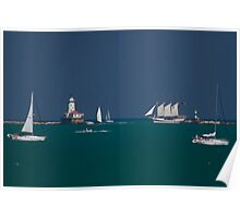 Sailboats coming and going Poster