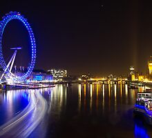 River Thames at Night by Llewellyn Cass