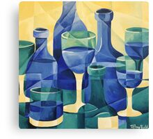 Blue Glass- Semi abstract bottles Canvas Print