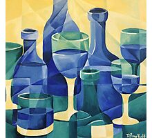 Blue Glass- Semi abstract bottles Photographic Print