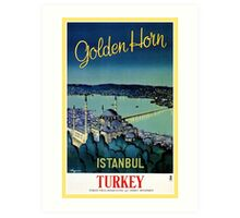 Vintage Golden Horn Istanbul Turkey travel  Art Print