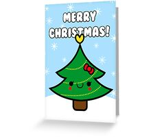 Adorable Kawaii Cartoon Christmas Tree Girl Greeting Card