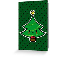 Adorable Kawaii Cartoon Christmas Tree Boy Greeting Card