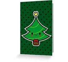 Adorable Kawaii Cartoon Christmas Tree Boy Greeting Card