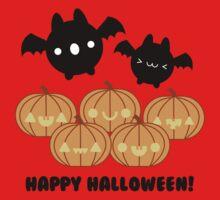Halloween Adorable Kawaii Pumpkins and Bats One Piece - Short Sleeve