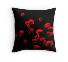 Poppies on the dark side Throw Pillow