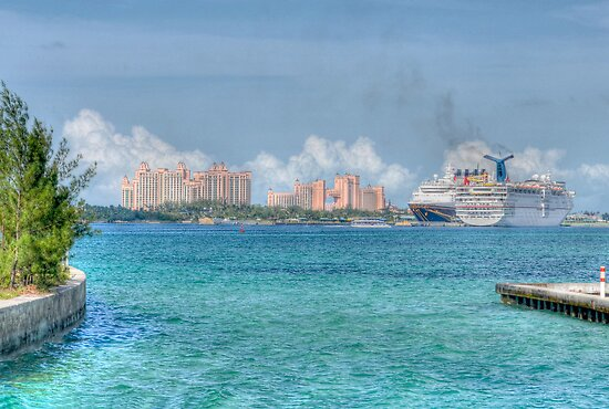 Atlantis Towers and Cruise Ships in Nassau, The Bahamas by 242Digital