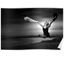 A ballerina in black an white on the beach Poster