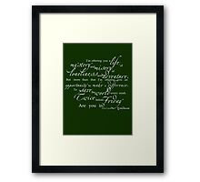 Librarians 'A Life...' Quote white text Framed Print