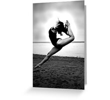 ballerina high back kick on the beach Greeting Card