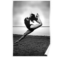 ballerina high back kick on the beach Poster