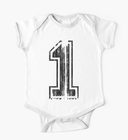 Bold Distressed Sports Number 1 One Piece - Short Sleeve