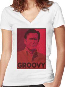 ASH WILLIAMS GROOVY (Ash vs Evil Dead) Women's Fitted V-Neck T-Shirt