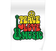 Reggae Peace-Love-Music Poster