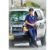 Policeman by Patrol Car Photographic Print