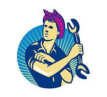 Female Mechanic Worker With Spanner Retro by patrimonio