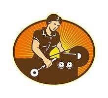 Female Machinist Worker Lathe Machine by patrimonio
