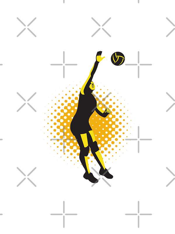 Volleyball Player Spiking Ball Retro  by patrimonio