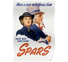 Make A Date With Uncle Sam -- Coast Guard Print Poster