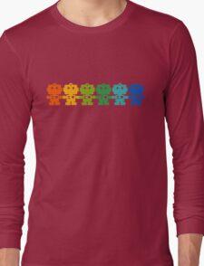Rainbow Robots holding hands Long Sleeve T-Shirt