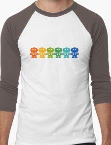 Rainbow Robots holding hands Men's Baseball ¾ T-Shirt