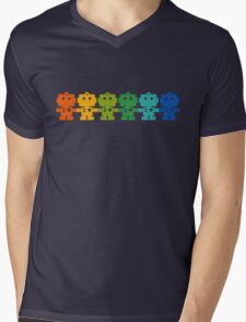 Rainbow Robots holding hands Mens V-Neck T-Shirt