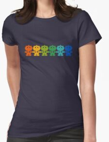 Rainbow Robots holding hands Womens Fitted T-Shirt