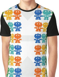 Rainbow Robots holding hands Graphic T-Shirt