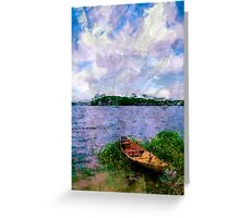 Summer landscape with boat Greeting Card