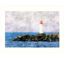 White lighthouse and pier  Art Print
