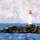 White lighthouse and pier  by Cebas