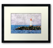 White lighthouse and pier  Framed Print