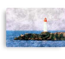 White lighthouse and pier  Canvas Print