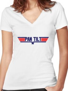 Pan Tilt Women's Fitted V-Neck T-Shirt
